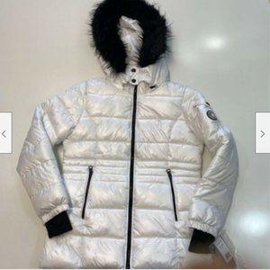 Madden Girl Womens Puffer Jacket White Black Hood